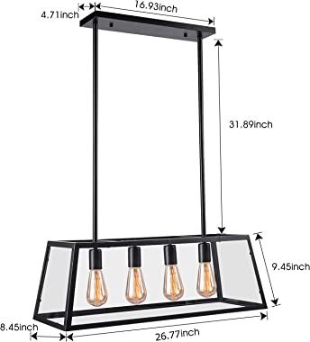 Kitchen Island Pendant Lighting with 4 Lamp Sockets, Pynsseu Matte Black Shade with Clear Glass Panels, Industrial Hanging Pe