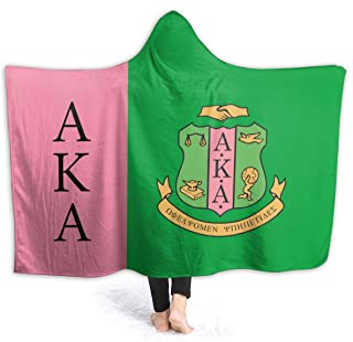 VIMMUCIR Alpha Kappa Alpha Logo Hooded Throw Blanket Warm Wearable Blankets Novelty Cape for Adults 60x80 Inch