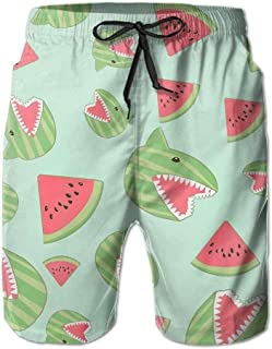 Shark Watermelon Funny Men's Summer Beach Quick-Dry Surf Swim Trunks Boardshorts Cargo Pants