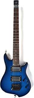 Asmuse Headless Electric Guitar Overhead Travel Guitar Small But Full-scale LEAF Guitar Ultra-Light For Travel and Performance Blue