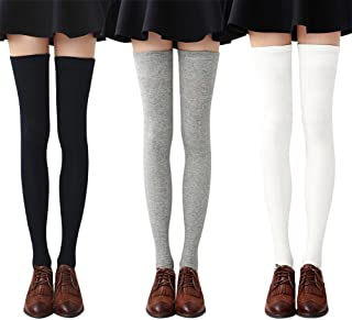 3-4 Pairs Womens Thigh High Socks Cotton Striped Over the...