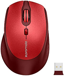 Promate Wireless Mouse, Ergonomic Lightweight 2.4Ghz Wireless Optical Mouse with USB Nano Receiver, 15m Working Ranger, Au...