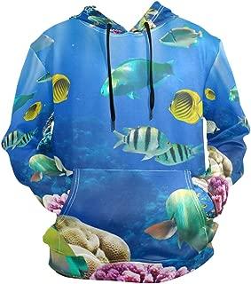 Unisex Hoodies Tropical Fish Sea Ocean World Coral Reef Long Sleeve Sweatshirt Pullovers