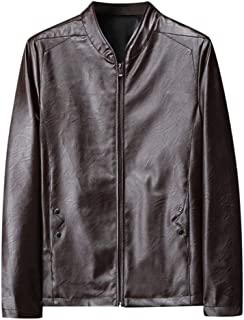 wuliLINL Men's Vintage Stand Collar Long Sleeved Retro Leather Jacket Motorcycle PU Faux Leather Outwear