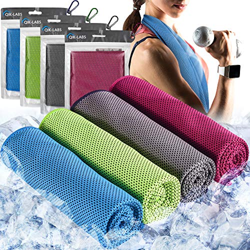 4pc Cooling Towel - Cooling Towels for Neck 4 Pack - Ice Towel Chilly Cool Towel for Athletes, Instant Chill Cooling Cloth as Cool Rags for Neck Cooling Wrap, Neck Cooler, Cold Towel for Hot Weather…