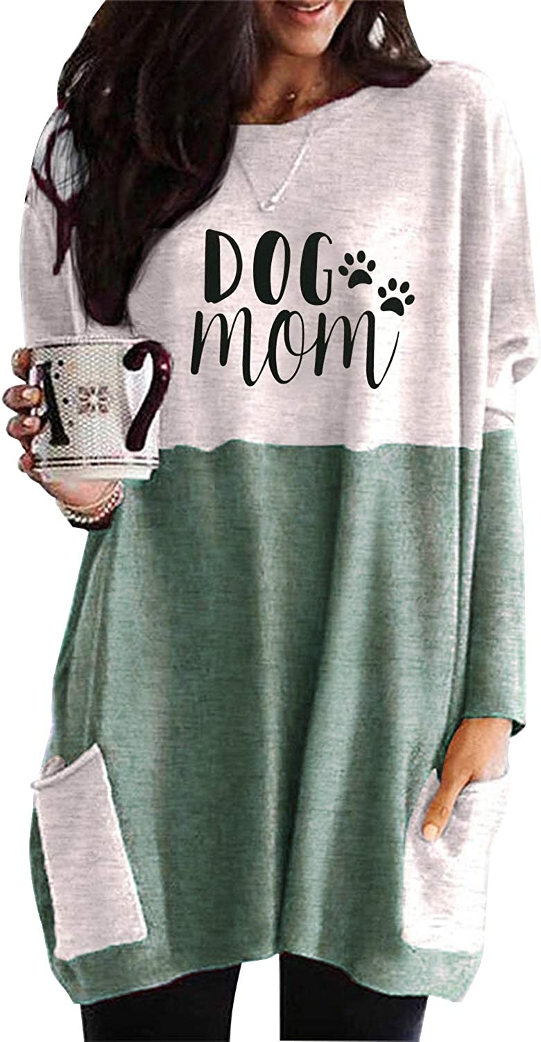 Nirovien Womens Dog Mom Sweatshirt Dress Long Sleeve Color Block Pullover Casual Tunic Tops with Pockets