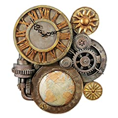 Inspired by da Vinci's age - straight out of a steampunk fantasy, this industrial gear clock is an unusual design melting form and function into one sculptural work of art that makes a cool house clock and fun conversation piece Designed by alberto b...