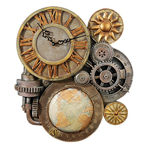 Design Toscano Gears of Time Steampunk Wall Clock Sculpture, Medium, Full Color
