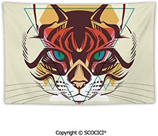 SCOCICI Tapestry Wall Hanging Cat Portrait with Funk Color Effects Cute Kitty Whiskers Pet Feline Zoo Meow Graphic Decorative Tapestry for Room