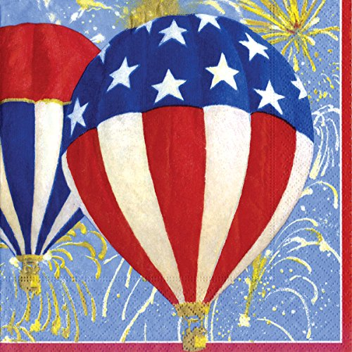 4 juli Ballonnen Amerikaanse vlag sterren en strepen Caspari Lunch Papier servetten 20 in verpakking 3 laag 33 cm vierkant