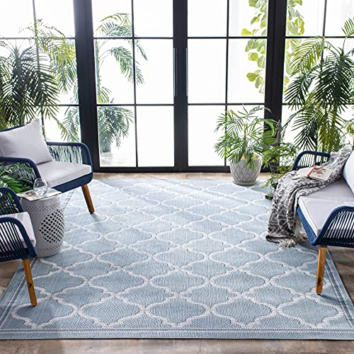 Safavieh Bermuda Collection BMU810M Trellis Indoor/ Outdoor Non-Shedding Easy Cleaning Patio Backyard Porch Deck Mudroom Accent Area Rug, 4' x 6', Light Blue / Ivory