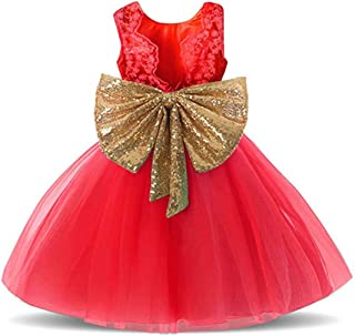 0-12 Years Baby Flower Girl Dress Wedding Party Sequins Tutu Gown