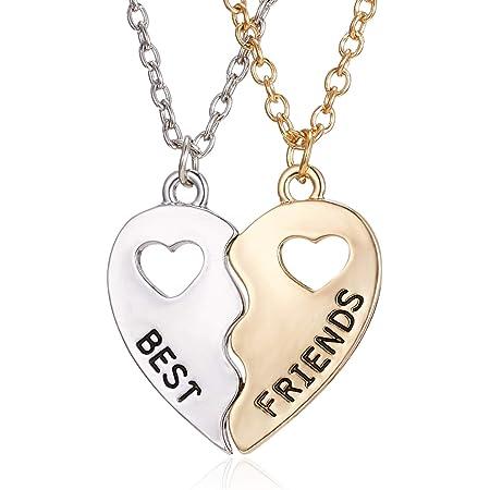 "CYWQ Juego de 2 collares con colgante de corazón con texto en inglés ""Best Friends Forever BFF"""