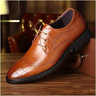 Xiang Ye Business Oxfords for Men Dress Shoes Lace up Genuine Leather Block Heel Solid Color Embossed Perforated Pointed Toe Burnished Style (Color : Brown, Size : 8.5 UK)