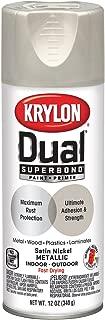 Krylon K08848001 'Dual' Superbond Paint and Primer Metallic Finish, Satin nickel, 12 Ounce