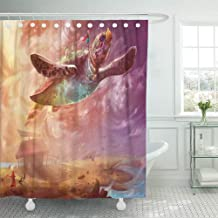 Emvency Shower Curtain 72x72 Inch Home Postcard Decor The Flying Turtle One Story of Song Sea Series Scene Fantasy Topic Fantastic Shower Hook Set are Included