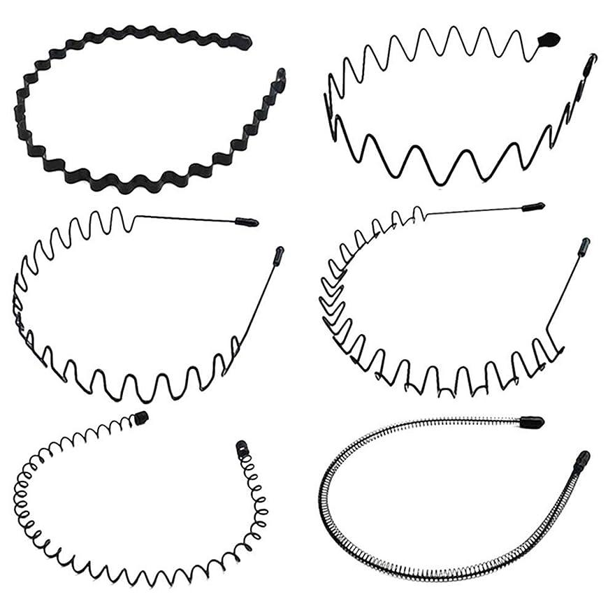 明確にオーバーフロー吐き出すシンプル ウェーブ カチューシャ 5種類セット ヘアバンド メンズ レディース 男女兼用 髪留め ヘアアクセサリー 黒