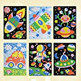 NUOBESTY 6 Pcs Mosaik Stickers DIY Handmade Sticky Car Astronaut Alien UFO Raumschiff Aufkleber für Jungen Mädchen