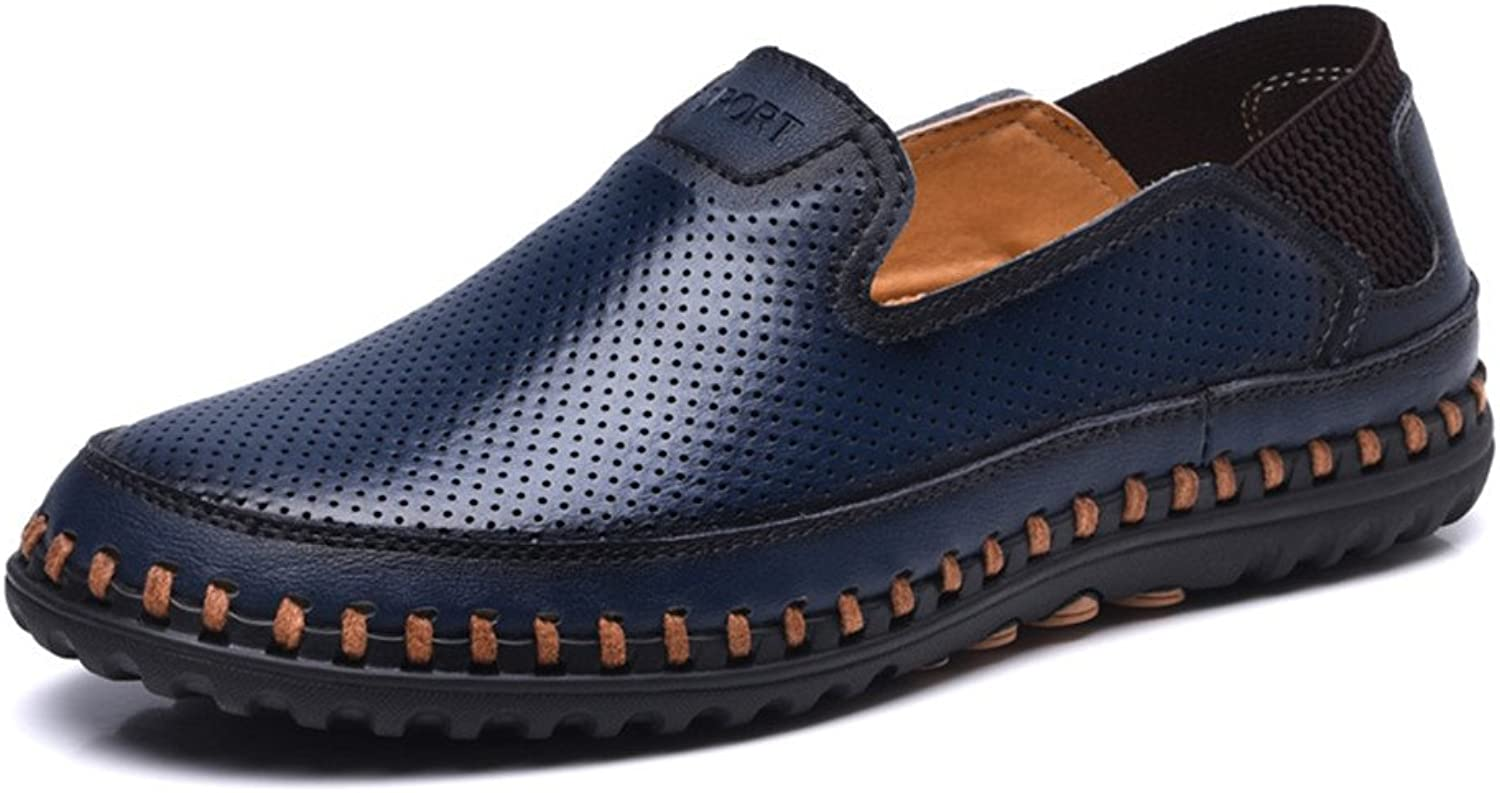 Ailishabroy Men's Summer Breathable Flat Loafers Slip On Leather shoes