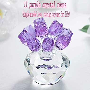 HDCRYSTALGIFTS Crystal Rose Flower Figurine Ornament Collectibles for Valentine's Day Decor Gift(Purple)