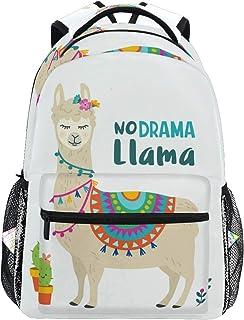 Backpack Fashion Laptop Daypack Cute Alpaca No Drama Llama Travel Backpack for Women Men Girl Boy Schoolbag College School Bag Canvas