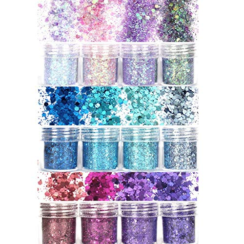 Laza 12 Colors Glitter Nail Art Acrylic Nails Powder Mixed Sequins Iridescent Flakes Ultra-thin Paillette Sparkles Tips Chunky Box 120g for Cosmetic Face Eyes Body Hair - Mermaid Princess