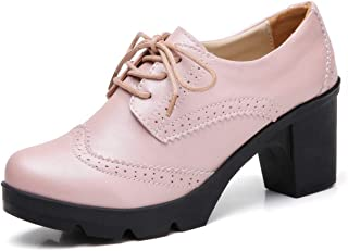 Sponsored Ad - DADAWEN Women's Leather Classic Lace Up Platform Chunky Mid-Heel Square Toe Oxfords Dress Pump Shoes