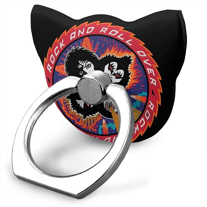 外側動物園アンタゴニストキッス KISS ロックバンド 熱い人気 可愛い猫 リングホルダー ホールドリング スタンド機能 落下防止 360度回転 IPhone/Android各種他対応