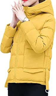 Women Down Jacket Hooded Zipper Long Sleeve Warm Loose Short Overcoats Tops