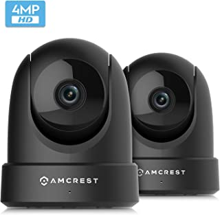 2-Pack Amcrest 4MP UltraHD Indoor WiFi Camera, Security IP Camera with Pan/Tilt, Two-Way Audio, Remote Viewing, Dual-Band 5ghz/2.4ghz, 4-Megapixel @~20FPS, Wide 120° FOV, 2PACK-IP4M-1051B (Black)