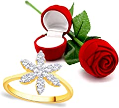 Peora Valentine's Day Gift Hamper of 18 Karat Gold Plated Ring with Red Rose Gift Box for Girlfriend Gift for Valentine/Gift for Girl