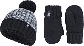 Heat Holders Boys' Thermal Turn Over Hat with Pom Pom and Gloves