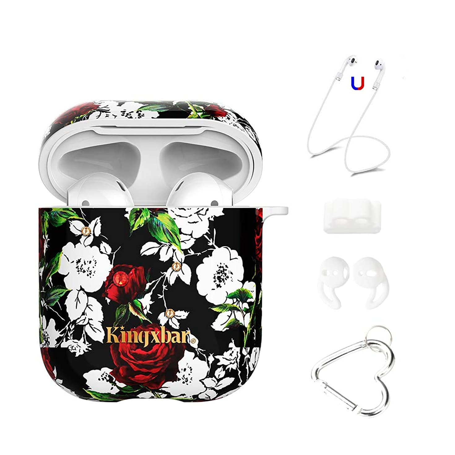 AirPods Case, Crystal from Swarovski Shiny Case, 5 in 1 AirPods Accessories Kit for Apple AirPods 2 & 1 Charging Case Protective Cover Gothic Rose Design Hard Skin Case for Girls Women by KINGXBAR