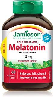 Jamieson Melatonin 10 mg Max Strength - Peppermint Flavour Fast Dissolving Tablets , 60 Count (Pack of 1)