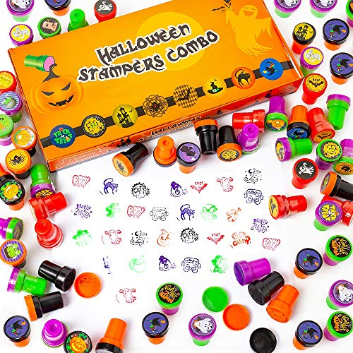 HOOJO 50PCs Halloween Self-Ink Stamps, Halloween Toys for kids, Halloween Party Favors Suppliers, Game rewarding Prices, includes 25 styles with 4 colors