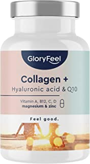 Kollagenkapslar + Hyaluronsyra & Q10 - berikad med zink, magnesium, vitamin B12, D3, A & C - 60 kapslar - laboratorietesta...
