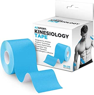 AZSPORT Kinesiology Tape Waterproof Kinesio Tape for Sport and Therapy, Uncut 2 Inchx16 Foot Roll, Blue