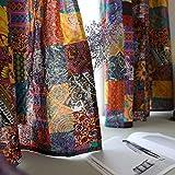 SUCSES Bohemian Colorful Curtains, Cotton Linen Retro Vintage Boho Drapes, Room Darkening Patchwork Window Treatment Panel, 1 Piece, 55' x 94'