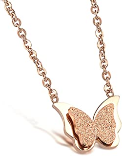 ROBERT MATTHEW Emily 18k Rose Gold Pendant Necklace, Two Tone Hanging Butterfly Necklace for Women, Rose Gold Plated Stainless Steel Pendant Necklace - MSRP - $89.99