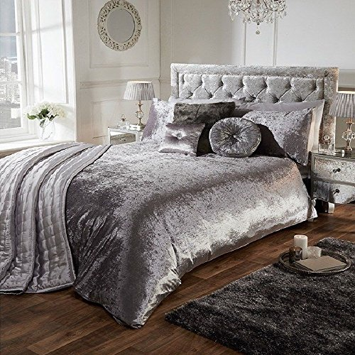 Luxury Crushed Velvet Duvet Quilt Cover Bedroom Bedding Set (Silver Grey, King)