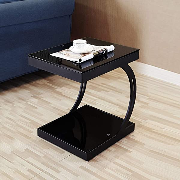 DDSS Bedside Table Bedside Cabinet Simple Modern Tempered Glass Small Coffee Table Sofa Side Small Side Table 40x50x55cm Color B