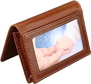 Hibate Slim Leather Credit Card Holder ID Case Wallet RFID Blocking for Men Women - Brown