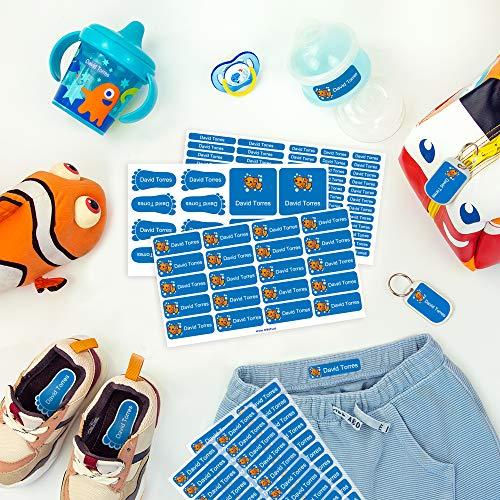 Pack de etiquetas para marcar la ropa, objetos, zapatos y mochilas de los niños. 142 etiquetas personalizadas perfectas para el cole o la guardería