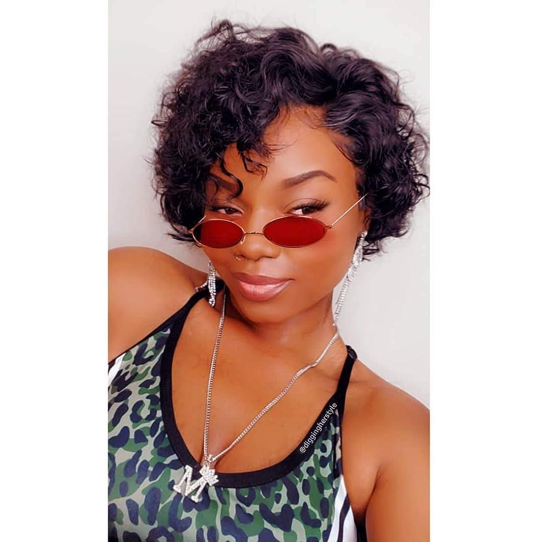 Eayon Hair 13x6 Short Curly Bob Wigs Human Hair Brazilian Virgin Preplucked Pixie Cut Bob Lace Front Wig Natural Color