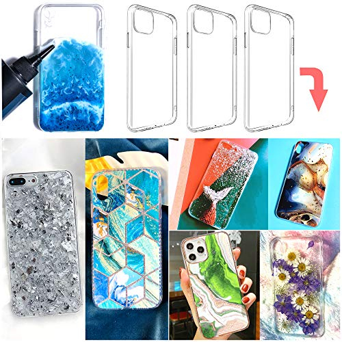 3 pcs epoxy Resin Personalized Mobile Phone case DIY Silicone case for iPhone 11 (Note:Product are not Resin Mold, They are 2 pcs Bumper Soft and 1 pcs Hard Phone case with Special Groove Design)