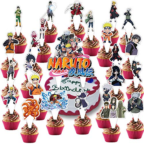 25Pcs Naruto Cake Topper Anime Birthday Party Decorations Baby Shower Cupcake Supplies for Kids