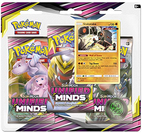 Pokemon TCG: Sun & Moon Unified Minds, Blister Pack Containing 3 Booster Packs and Featuring Promo Card Stakataka