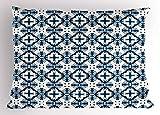 ABAKUHAUS Blu E Bianco Federe Cuscino, Tegole Portoghesi, Federe Cuscino Decorative di Dimensioni Standard, 90 X 50 cm, Dark Blue Pale Blue Bianco
