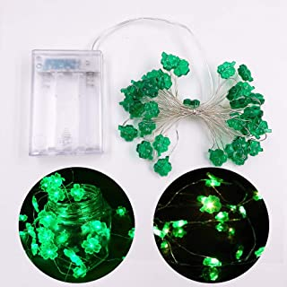 LOHOVE Decorative Lights Shamrocks LED String Lights Battery Operated with Remote 10 ft 40 LEDs Lucky Clover Handmade Stri...