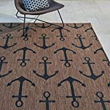 Gertmenian Tropical Collection Outdoor Rug Patio Area Carpet, 8x10 Large, Nut Brown Black Anchors